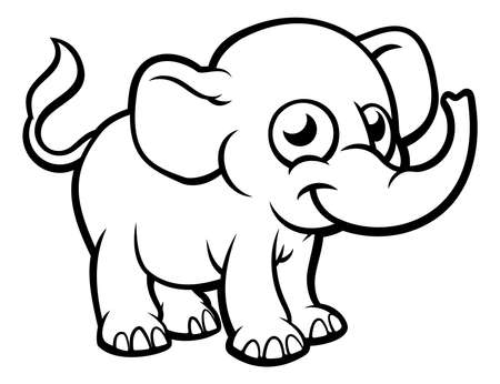 An elephant cartoon character outline coloring illustration