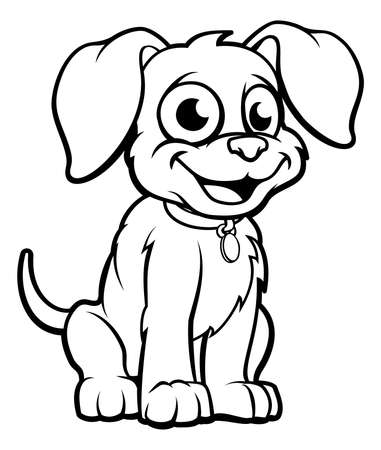 Cute cartoon dog character outline coloring illustration Ilustração