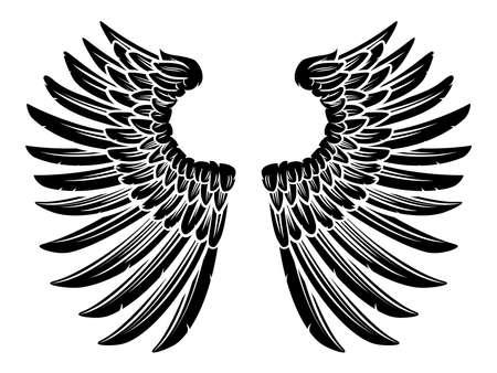 Eagle bird or angel wings pair set spread out Ilustração