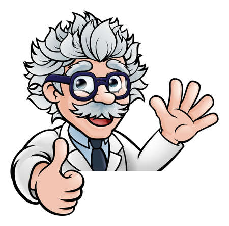 A cartoon scientist professor wearing lab white coat waving above sign and giving a thumbs up