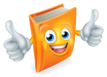 A cute book cartoon character education mascot giving a double thumbs up Ilustração
