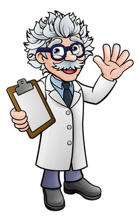 A generic cartoon scientist professor wearing lab white coat waving and holding a clipboard.