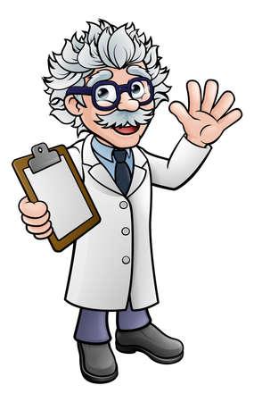 Un dibujo genérico de dibujos animados catedrático vistiendo chaqueta blanca de laboratorio ondeando y sosteniendo un portapapeles.