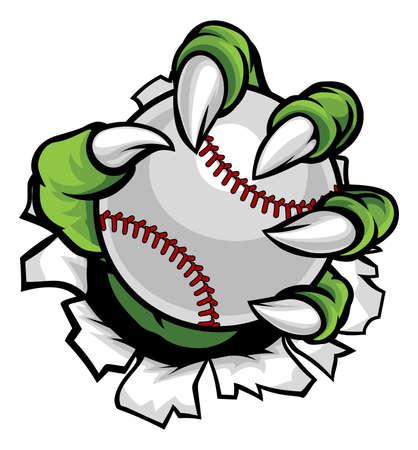 Ein Monster oder Tier Klaue halten eine Baseball-Ball und brechen durch den Hintergrund Standard-Bild - 80640679