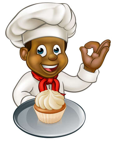 Black chef or baker cartoon character holding a plate with a frosted cupcake or fairy cake on it