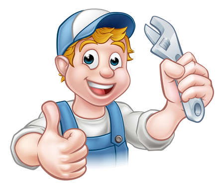 A mechanic or plumber handyman cartoon character holding a spanner and giving a thumbs up