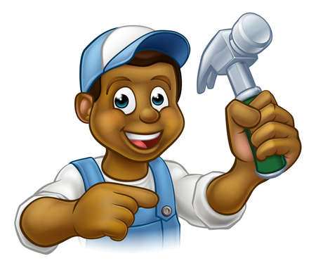 A black handyman carpenter cartoon character holding a hammer and pointing Stock Illustratie