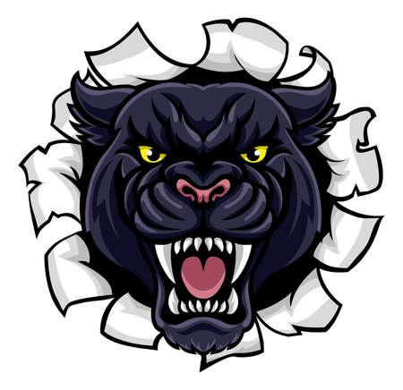 Una pantera nera arrabbiata di animali mascotte sport che rompe attraverso lo sfondo Archivio Fotografico - 80640720