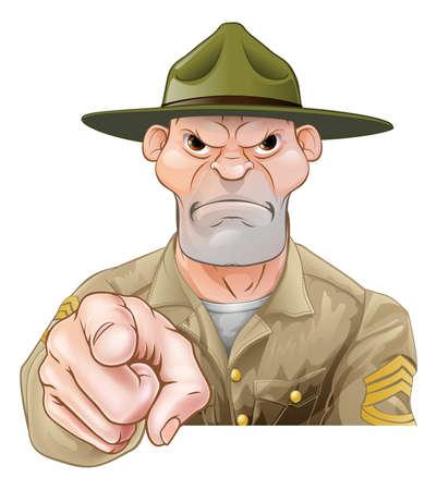 Kreskówka wojsko musztruje sierżanta żołnierza wskazywać Ilustracje wektorowe