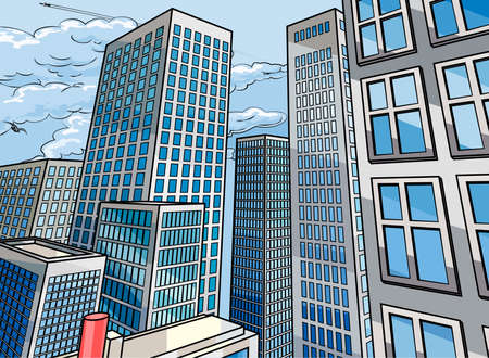 City background scene in a cartoon popart comicbook style with skyscraper buildings Vectores