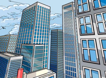 Stadsscène als achtergrond in een comicbookstijl van beeldverhaalpopart met wolkenkrabbergebouwen