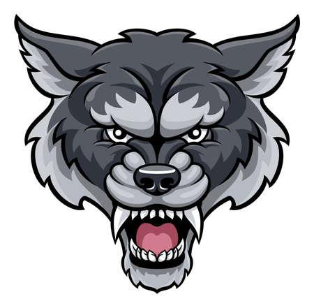怒っているオオカミ スポーツ マスコット動物キャラクター  イラスト・ベクター素材