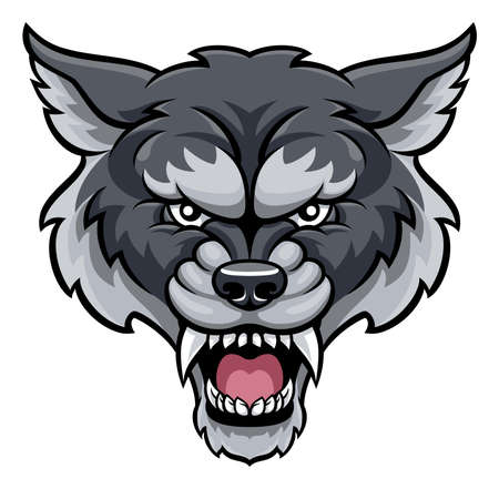 An angry wolf sports mascot animal character