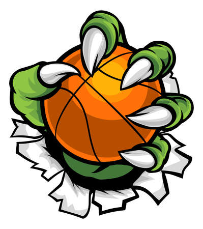 A monster or animal claw holding a basketball ball and breaking through the background