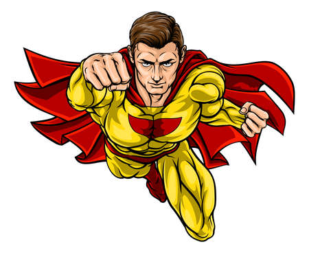 Super hero in a cartoon pop art comic book style Illustration