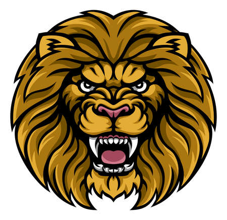An angry lion sports mascot animal character