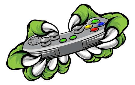 몬스터 게이머 플레이어 손 또는 비디오 게임을하는 컨트롤러를 들고 발톱