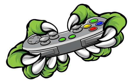 Monster gamer player hands or claws holding a controller playing video games