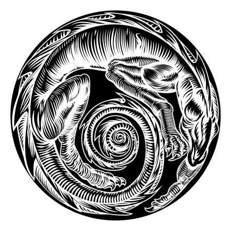 A circular dragon original design in a vinatge wood cut retro style