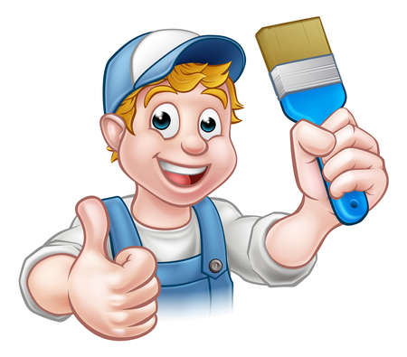 A handyman painter decorator cartoon character holding a paintbrush and giving a thumbs up