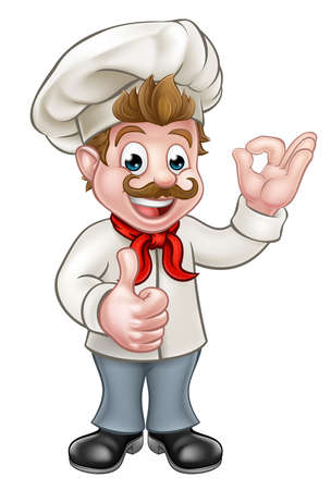 Cartoon chef or baker character giving a perfect okay delicious cook gesture and a thumbs up Vetores
