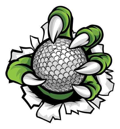 A monster or animal claw holding a golf ball and breaking through the background Stock Illustratie