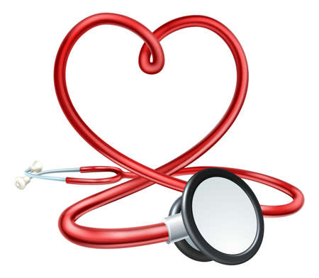 A red doctors Stethoscope forming a heart shape