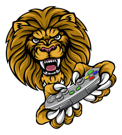 A lion video game player sports gamer animal mascot holding a controller