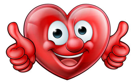 A shiny red heart shaped mascot character giving a thumbs up