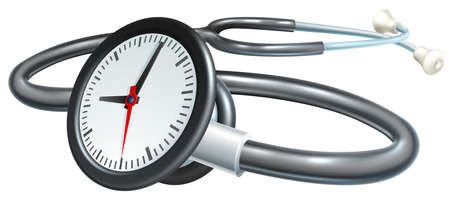 A stethoscope clock time or waiting list medical concept