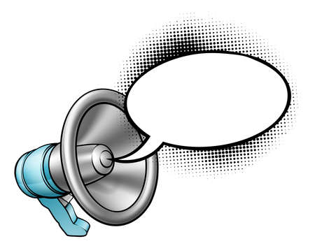 A megaphone or bullhorn with a speech bubble coming out