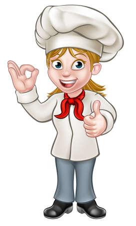 Karikaturfrauenchef oder -bäckercharakter, der eine perfekte okay köstliche Kochgeste und Daumen oben gibt Standard-Bild - 81190425