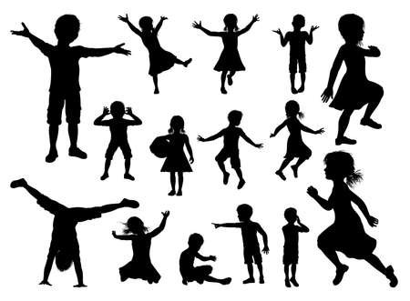 Silhouette of boys and girls kids children having fun