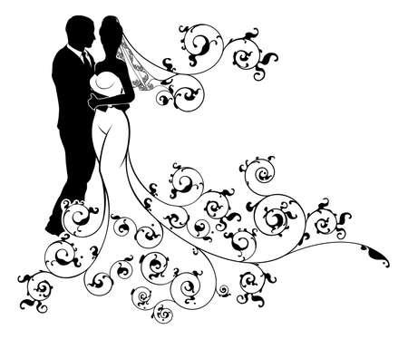 Silueta de la novia y el novio de la boda con un vestido abstracto modelado vestido de novia blanco Foto de archivo - 81304557
