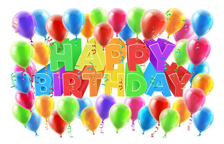Happy Birthday bright color word text sign with balloons, confetti and streamers 向量圖像