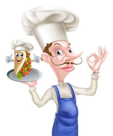 An Illustration of a Cartoon Chef Perfect Kebab Mascot