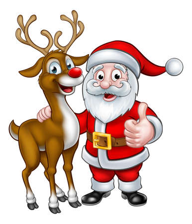 A Santa and his Christmas reindeer cartoon characters
