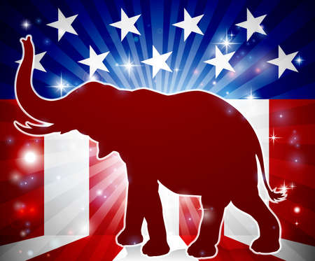 An elephant in silhouette with trunk in the air and an American flag in the background republican political mascot 版權商用圖片 - 81443046