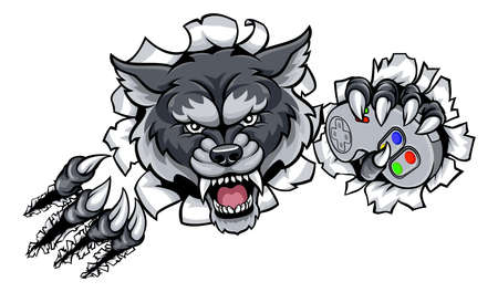 A Wolf angry animal esports video games player gamer mascot holding a controller and breaking through the background Illustration