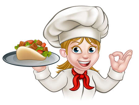 A cartoon woman chef character holding a kebab