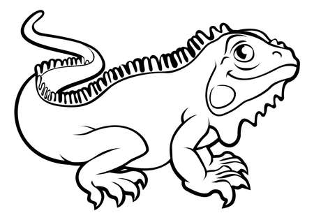Iguana Lizard Cartoon Character Illustration