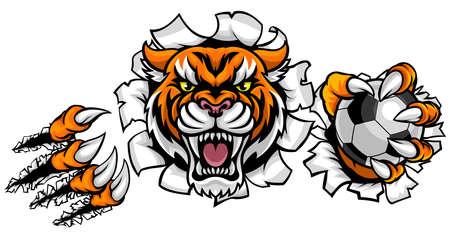 Tiger Holding Soccer Ball Breaking Background Illustration