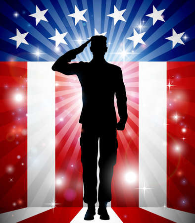 A US soldier saluting in front of an American flag background for Veterans Day Ilustração