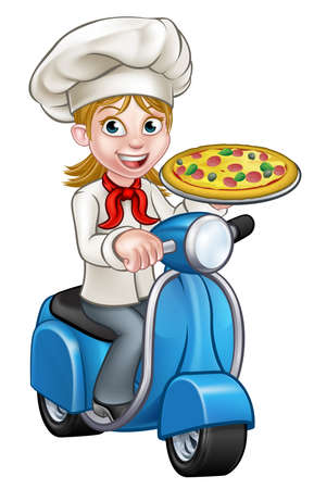 Cartoon Woman Pizza Chef Op Bromfiets Scooter