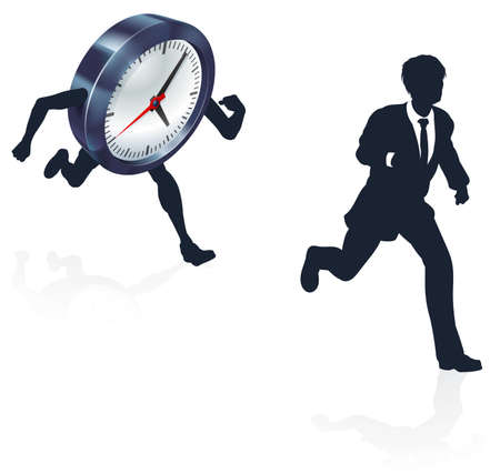 Clock Race Business Man Concept