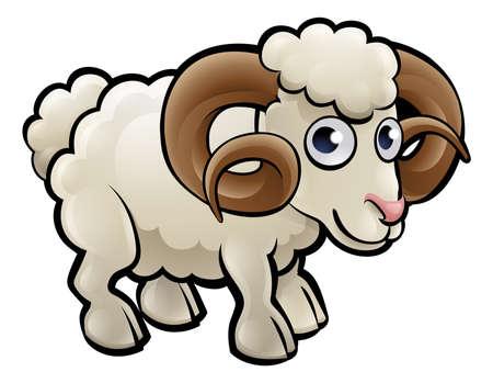 Ram Farm Animals Cartoon Character Stock Vector - 81726815