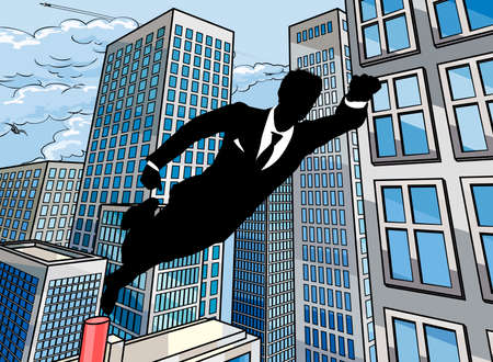 都市のシーンで空気を通って飛んでスーパー ヒーロー ビジネス男性
