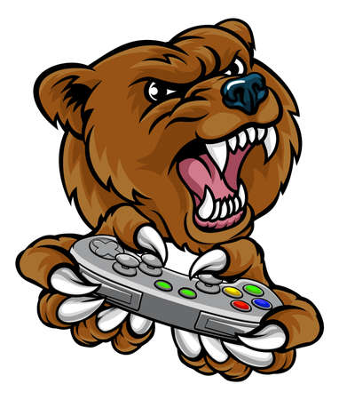 Bear Gamer Player Mascot