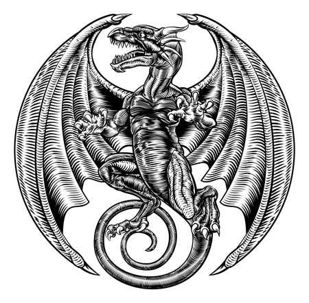 Gravure sur bois de dragon ailé Banque d'images - 81799965