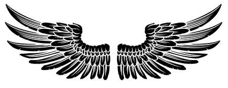 Paar Vintage Style Wings Stock Illustratie